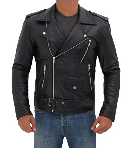 fjackets Belted Rider Black Mens Leather Jacket - Genuine Lambskin Leather Jacket for Men | [1100015], Belted Rider XL