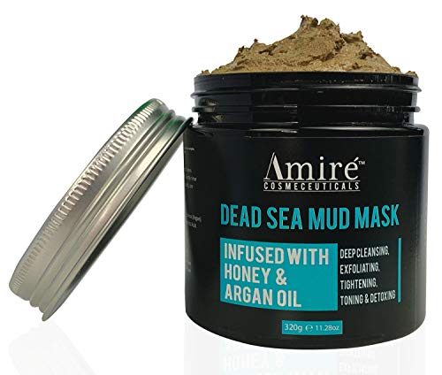 Amire Dead Sea Mud Mask for Face & Body, Ultimate Pore Reducer and Minimizer to Help Treat Acne, Blackheads and Oily Skin, Tigthens Skin, Infused with Honey and Argan Oil