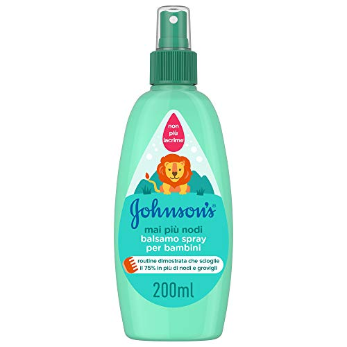 JOHNSON'S Baby, Balsamo Spray per Bambini, Mai Più Nodi, Districante, Non Più Lacrime, anche per Capelli Lunghi o Ricci, 200ml