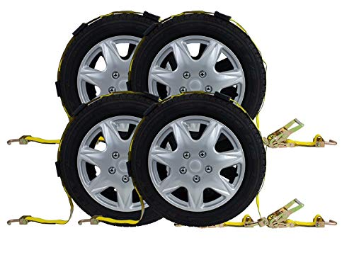Mytee Products (4 Pack) 2' x 9' Over The Tire Car Hauler Truck Trailer Auto Tie Down Ratchet Straps w/Swivel J Hook