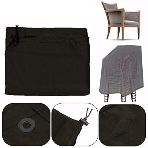 YWSZY Jardin Parkland Meubles de Patio Housse étanche poussière extérieure Chaise empilable Couverture de Haute qualité Housse Table de Jardin (Color : Black)