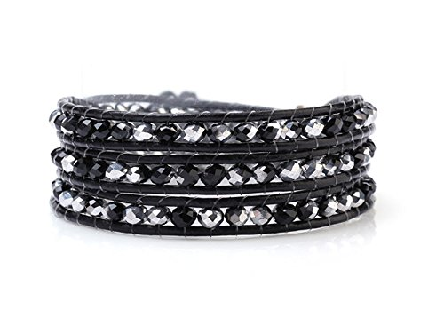 Blupear Black and Silver Crystals Wrap Bracelet Genuine Black Leather Multilayer 4mm Beads