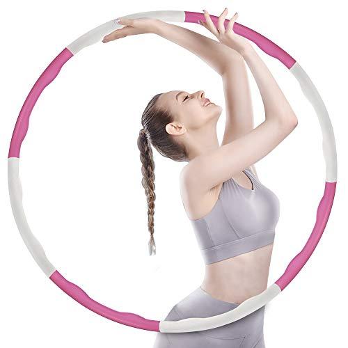 Oiwewly Fitness Reifen Hoop Erwachsene 1,2 kg, Slim Hoop zur Gewichtsreduktion und Massage Verwendet Werden KöNnen, 6-8 Segmente Abnehmbarer, Sehr gut geeignet für Anfänger, Rosa