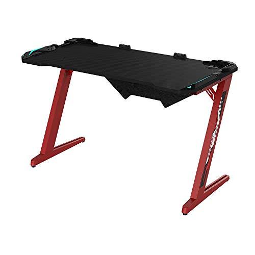 MotBach Scrivania da Gioco Computer Gaming Desk Z Shaped PC Table Workstation con Supporto in Fibra di Carbonio Superficie della Tazza Cuffia Gancio per Computer Tavolo da Gioco