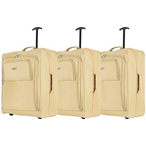 Flight Knight 56x45x25 cm Set Di Tre Bagagli Valigia Leggera Dimensione Massima Per easyJet, British Airways, Jet2, Iberia E Tanti Altri! Trolley Bagaglio A Mano Bagaglio Da Stiva 2 Rotelle.