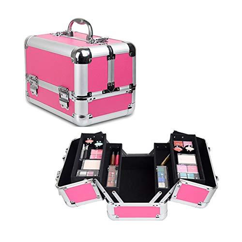 Mallette Maquillage, voyage, maquillage, organisateurs de cosmétiques, vernis à ongles, bijoux, boîte à cosmétiques, trousse de beauté vanité, espace très grand, rose