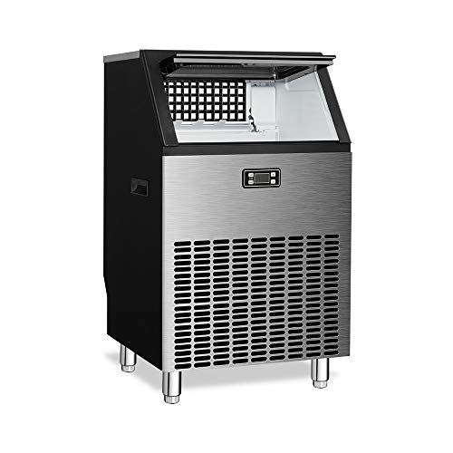 Joy Pebble Commercial Ice Maker Machine, 100 LBS/24H Automatic Freestanding Ice Maker Undercounter, Ideal for Restaurants, Bars, Homes and Offices - Includes Scoop and Connection Hose