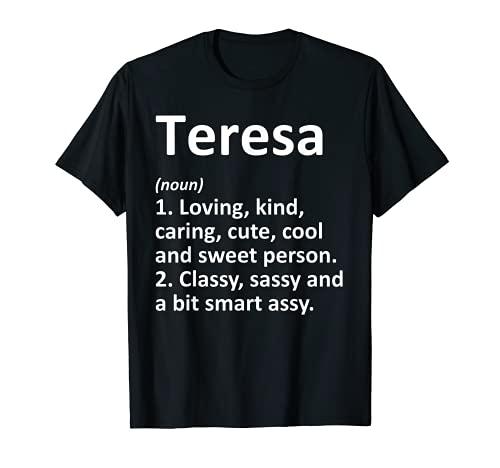TERESA Definición Personalizada Nombre Divertido Regalo de Cumpleaños Idea Camiseta