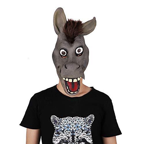 BYEON Halloween Kostuum Partij Latex Dierenkop Masker Ezel