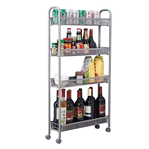 Binlin Space-Saving Honeycomb Mesh Style Removable Storage Cart Silver, Standing Shelf Rack Units with Wheels for Kitchen/Bathroom/Office (4-Shelf)