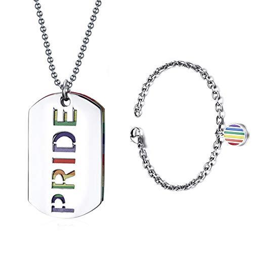 Forepin Gay Collana e Braccialetto LGBT Arcobaleno Orgoglio Ciondolo Lesbian Dog Tag Pride Necklace And Bracelet per Uomo e Donna