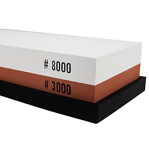 GWHOLE Pierre à Aiguiser, Pierre à Affûter Double Face Grain 3000/8000 avec Support Antidérapant en Silicone