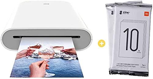 per Xiaomi Stampante Bluetooth a Sublimazione per Stampa Foto Istantanee AR con Tecnologia Zero Ink Printing Photo Printer 300DPI tascabile con cartuccia 20 fogli carta ZINK Print Paper