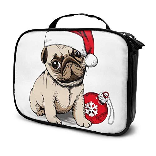 Puppy Pug Santas Chapeau De Noël Jouet Voyage Zip Cosmétique Sac Grand Sacs Cosmétiques Maquillage Poche Enfants Multifonction Imprimé Poche pour Les Femmes
