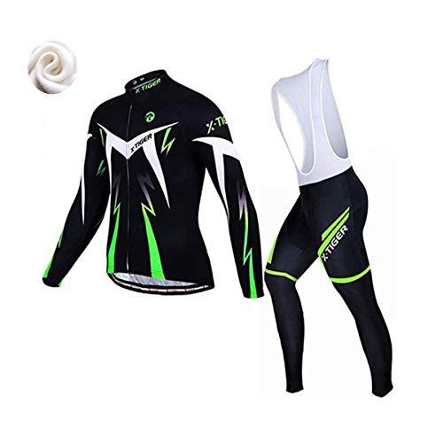 X-TIGER Ropa de Ciclismo de Invierno Para Hombre con Pantalón Acolchado de Gel 5D Y Culotte con Tirantes + Conjunto de Camiseta de Ciclismo