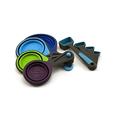 Collapsible Measuring Cups and Measuring Spoons - Portable Food Grade Silicone for Liquid & Dry Measuring
