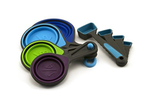 Collapsible Measuring Cups and Measuring Spoons - Portable Food Grade Silicone for Liquid...