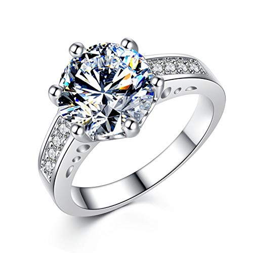 Silver Plated Round Solitaire Cut White Cubic Zirconia Ring Promise Rings for Women Engagement Ring for her ,Womans Rings Jewelry Gift