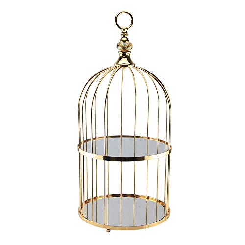 2 Tier Bird Cage Cake Cupcake Dessert Stand Serving Tray with Gold Hardware for Events, Parties, Weddings and Special Occasions
