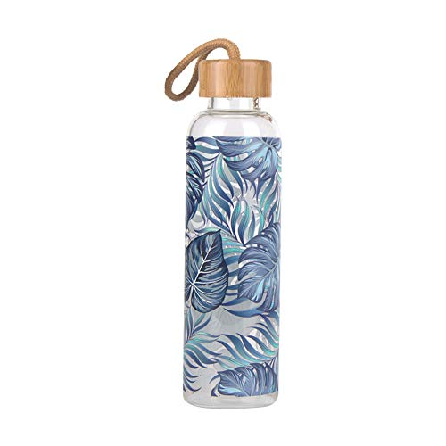 Botella De Agua Cristal Botella Cristal Botella Grande de Agua Botellas de Bebida para Adultos Botella de Agua Reutilizable Bluegrass,550ml
