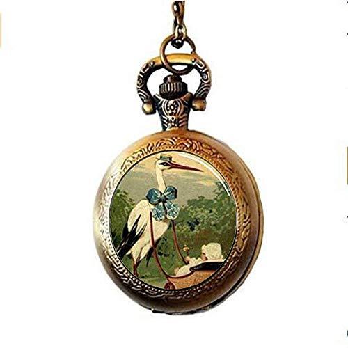 Handgefertigte feine Taschenuhr mit Storch- und Babywagen-Anhänger, Glasschmuck, Geschenk, Kunst, Bild