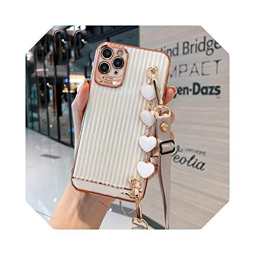 Lujo galvanizado maleta amor corazón pulsera cordón teléfono caso para iPhone 11 12 Pro X XR XS Max 7 8 Plus cubierta suave 3-para iPhone SE2021