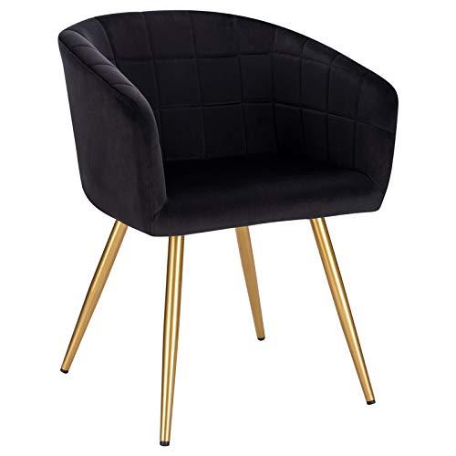 WOLTU BH261sz-1 1x Esszimmerstuhl Wohnzimmerstuhl Küchenstuhl Relaxstuhl Designer Stuhl mit Rückenlehne und Armlehnen aus Samt Goldengestell Schwarz