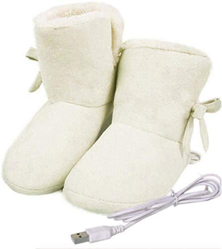 LONG-M Zapatos De Invierno Calentador USB, Zapatillas Eléctricas Cálidas De Felpa, Lavables,Blanco