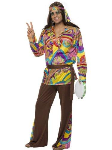 Smiffys, 32032L hippiekostuum voor heren, broek, hemd, hoofdband en riem, maat: L, 32032