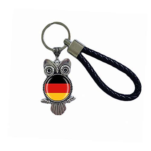 Schlüsselanhänger mit Deutschland-Flagge, Eulenform, Glas, Kristall, Souvenir, Dekoration, für Männer und Frauen, Anhänger, Zubehör, Geschenk