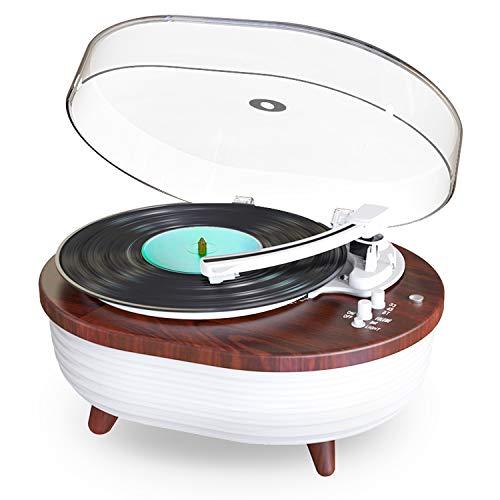 Lauson TT238 Moderner Plattenspieler mit Bluetooth und integrierten LED-Leuchten, Plattenspieler mit integriertem Stereo-Lautsprecher und Magnetnadel, 3 Geschwindigkeitsstufen per Riemen