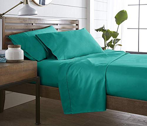 MARQUESS 4-Piece Microfiber Cooling Sheet Set - Breathable Luxury Lightweight Bedding Sheets with Deep Pocket (Teal, King)