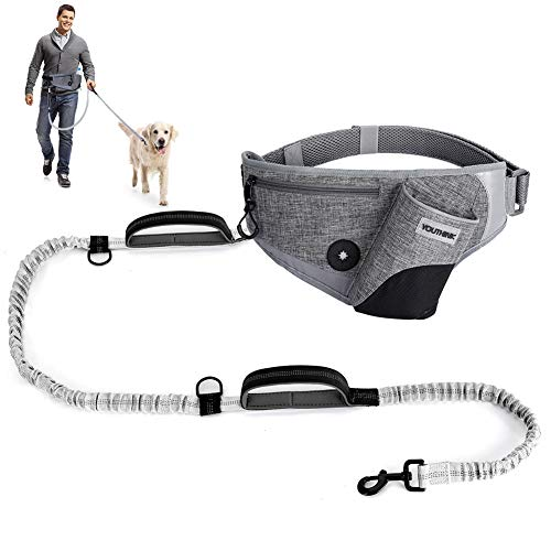 Yosoo Health Gear Freihändige Hundeleine zum Laufen, Reflektierende Hüftleine mit Zwei Griffen für Hunde, Bungee-Hundeleine, Hüftgurt zum Laufen, Laufen, Joggen, Training, Wandern