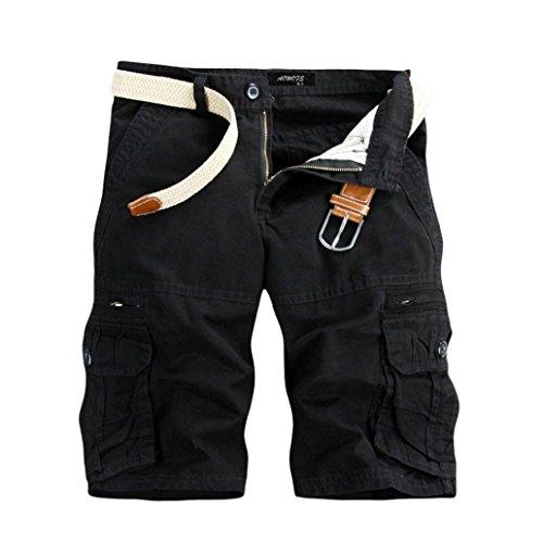 GreatestPAK Pants Pure Color Shorts Herren Outdoor Taschen Strand Arbeit Hosen Cargo Pant,34(XL),Schwarz