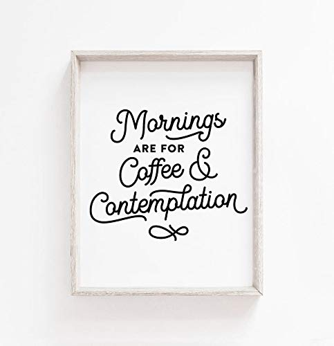 rfy9u7 Frame Wood Sign, Mornings are for Coffee and Contemplation - Stranger Things, Jim Hopper Quote Wall Art Decor, Poster, Farmhouse Wall Hanging Art, Wood Frame, Rustic Home Decor, 8 x 12 Inch