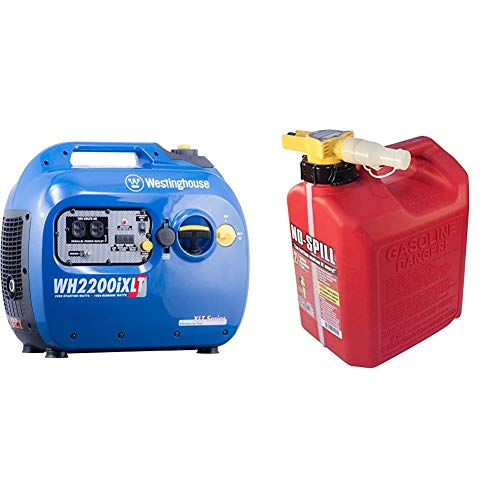 Westinghouse WH2200iXLT Super Quiet Portable Inverter Generator 1800 Rated & 2200 Peak Watts, Gas Powered & No-Spill 1405 2-1/2-Gallon Poly Gas Can