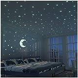 FRETOD Stelle Fluorescenti e Grande Luna (24cm) - 300 Pezzi Adesivi da Parete Fluorescenti...
