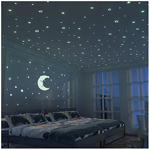 Stelle Fluorescenti e Grande Luna (24cm) - 300 pezzi Adesivi da Parete Fluorescenti per la camera dei Bambini