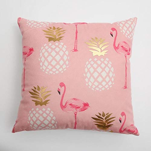MZW Pink Flamingos Gold Pineapple Pillow Cover Soft Gold Foil Square Cushion Cover For Sofa Bed 43x43cm Zip Open,A
