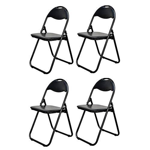 XXHDEE klapstoel, zwart, met stalen buisvulling, 4 stuks