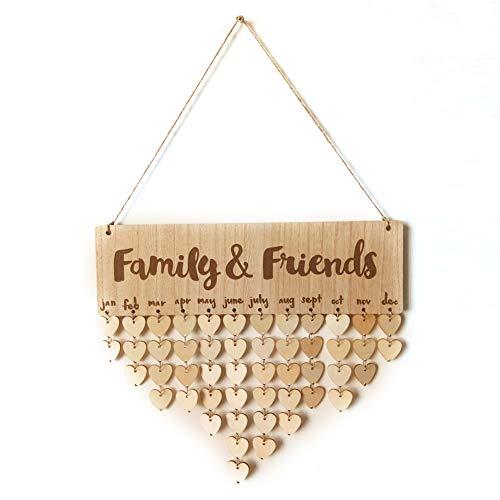 Calendario di legno di DIY Famiglia Amici Compleanno Scheda di promemoria Board Plateau Sign Board Decorazione domestica