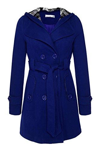 ANGVNS Damen Mantel, Einfarbig Gr. X-Large, blau