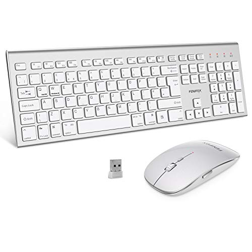 Wireless Keyboard and Mouse Set, Dual System Switching Ergonomic 2.4Ghz USB QWERTY Full Size UK Layout for Computer PC Laptop Windows Mac (White)