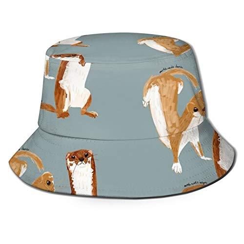 popluck Divertido Weasel (Mustela Nivalis) Sombrero de pescador unisex Sombrero de pescador Sombrero de sol plegable impresión 3D al aire libre Sombrero de playa