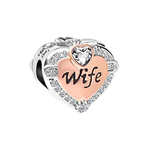 MiniJewelry Women Wife Love Heart Charm for Bracelets fits Pandora Charms Bracelets Gift Birthday Christmas Anniversary