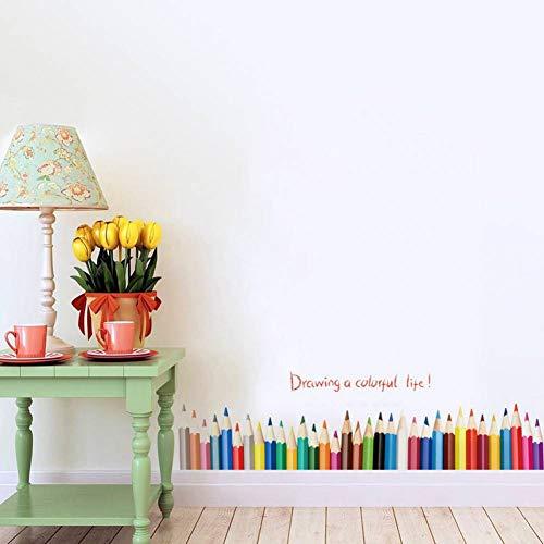 YCEOT Wandaufkleber 3d diy kreative farbige bleistift zeichnung aufkleber wohnkultur wohnzimmer baseboard wandaufkleber pvc wohnkultur