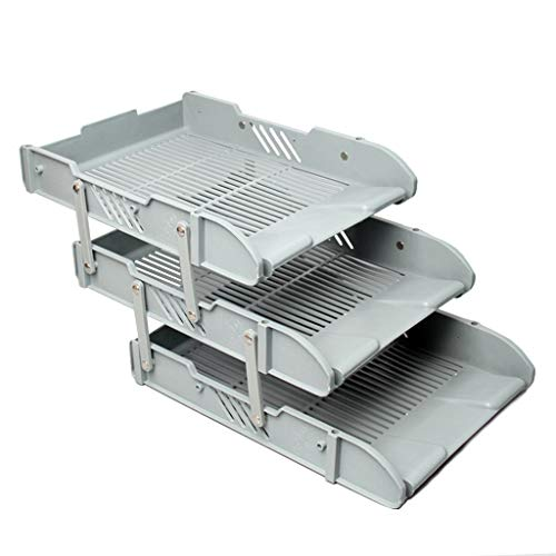 Vaschetta Portacorrispondenza File Tray File Holder 3 Strati di finitura di plastica Dati Storage Rack File Basket Multistrato, grigio Supporto per documenti