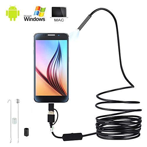 USB Endoscope 3 in 1 Borescope USB/Micro USB/Type-C Waterdichte Inspectie Snake Camera met 6 LED Lights voor Android, iPhone,IOS, Samsung, MAC, Laptop, Windows 5 m.