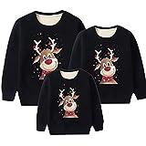 Sudaderas Navideñas Familiares Sudadera Reno Navidad Familiar Mujer Jersey Navideño Familia Hombre Feo Divertido Pullover Navidad Ugly Jerseys Navideños Pareja Unisex Talla Grande Sueter Negro M