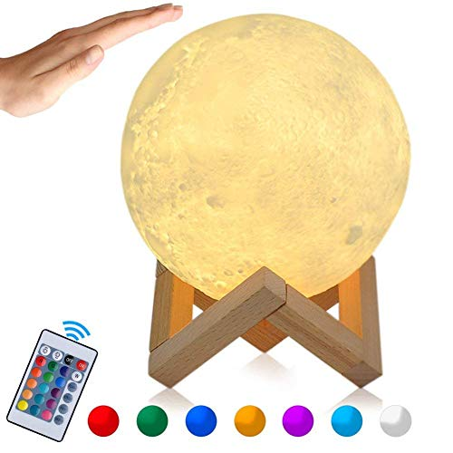 15 cm LED Moon Lamp 3D Print Moon Light with Remote Control,Portable Night Light Lamp with Touch Control, Built-in Battery, Dimmable, 16 RGB Moonligh Color, PLA+PVC Material